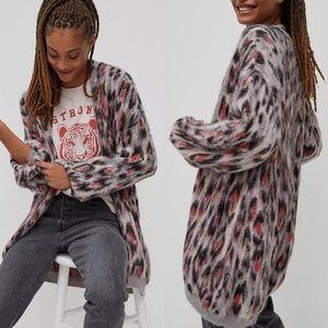 Anthropologie Zoey Leopard Bubble Sleeve Cardigan